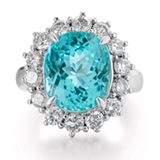 A 'PARAIBA' TOURMALINE AND DIAMOND RING -    - Online Auction of Fine Jewels and Silver