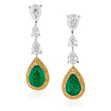 A PAIR OF DIAMOND AND EMERALD EAR PENDANTS -    - Online Auction of Fine Jewels and Silver