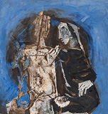 Untitled (Two Figures with Cactus) - M F Husain - Modern Evening Sale | Mumbai, Live