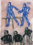 Women in blue, Men in black - Arpita  Singh - Kochi Muziris Biennale Fundraiser Auction | Mumbai, Live