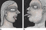 a) Girl with Red Lips b) Man with Protruding Tongue - Jogen  Chowdhury - Summer Online Auction