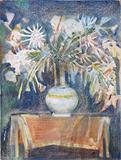 Still Life with Flower Vase - Ganesh  Pyne - Works on Paper Online Auction