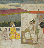 RAJA ON TERRACE WITH PRINCE AND ATTENDANTS -    - Classical Indian Art | Live Auction, Mumbai
