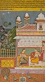 CONFIDANTES IN A PAVILION: AN ILLUSTRATION FROM A RASIKAPRIYA -    - Classical Indian Art | Live Auction, Mumbai