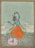 DANCING KRISHNA WITH COWS -    - Classical Indian Art | Live Auction, Mumbai