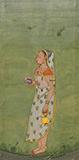 LADY PROCEEDING FOR SUN WORSHIP -    - Classical Indian Art | Live Auction, Mumbai