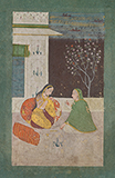 LADY WITH HER ATTENDANT -    - Classical Indian Art | Live Auction, Mumbai