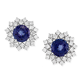 TANZANITE AND DIAMOND EARRINGS -    - Art and Collectibles Online Auction