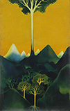 Tree over Mountains - Gulam Mohammed Sheikh - Evening Sale of Modern and Contemporary Indian Art