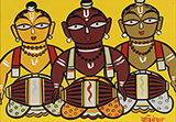 Untitled (Three Drummers) - Jamini  Roy - Evening Sale of Modern and Contemporary Indian Art