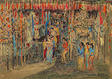 Untitled (At the temple gate, Bali) - K K Hebbar - Evening Sale | New Delhi, Live