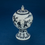 BLUE AND WHITE GLOBULAR PORCELAIN JAR WITH COVER ON FLARED FOOT -    - Asian Art