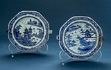 SET OF TWO BLUE AND WHITE PORCELAIN HOT WATER PLATES -    - Asian Art