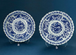 SET OF TWO BLUE AND WHITE PORCELAIN DISHES - Asian Art
