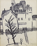 Houses with Tree - F N Souza - From Classical to Contemporary