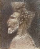 Head of a Man - Ganesh  Pyne - From Classical to Contemporary