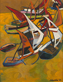Untitled (Boats in harbor) - Jehangir  Sabavala - Summer Online Auction