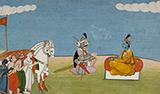 KRISHNA WITH PANDAVAS -    - Classical Indian Art