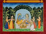RADHA KRISHNA FEASTING IN A GROVE -    - Classical Indian Art