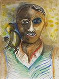 Man with a Monkey - Bhupen  Khakhar - Modern Indian Art