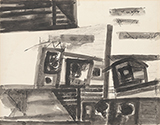 Untitled (Houses) - Ram  Kumar - Evening Sale   New Delhi, Live