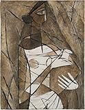 Untitled (Portrait Cubist de Femme a la Cruche) - Paritosh  Sen - Spring Online Auction
