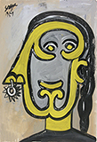 Untitled (Woman in Profile with Nose Ring) - F N Souza - Spring Online Auction