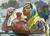 Untitled (Indian Woman with Amphora) - Walter  Langhammer - Spring Online Auction
