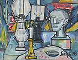 Still Life with Lamps - F N Souza - Winter Online Auction