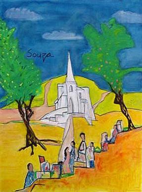 Church with pilgrims