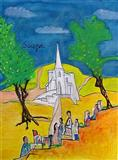 F N Souza-Church with pilgrims