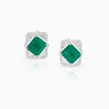 -A MAGNIFICIENT EMERALD AND DIAMOND EAR CLIPS