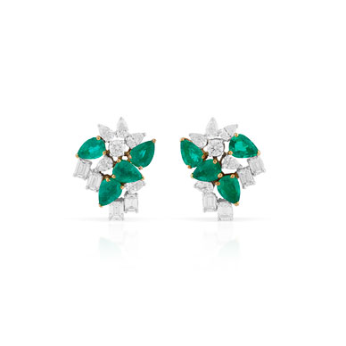 A PAIR OF EMERALD AND DIAMOND EAR CLIPS