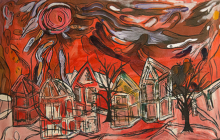 Untitled (Red Landscape with Sun and Trees)