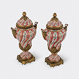 -PAIR OF ORMOLU MOUNTED ROSE POMPADOUR PORCELAIN VASES WITH COVERS BY SÈVRES