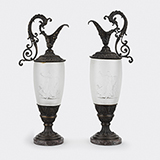 -PAIR OF CRYSTAL AND PATINATED BRONZE EWERS BY LALIQUE