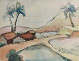 F N Souza-Untitled (Landscape, Goa)