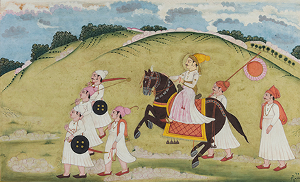 Equestrian with Attendants