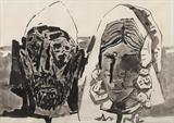 Untitled (Kashmiri Couple) - M F Husain - Summer Online Auction