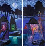 Starry Night and Temples - Manu  Parekh - Summer Online Auction