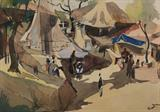 Untitled (Huts and People) - H A Gade - Modern Indian Art