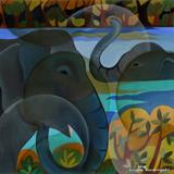 Bathing Elephants - Senaka  Senanayake - Spring Online Auction
