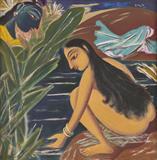 Radha and Krishna - George  Keyt - Summer Online Auction