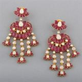 RUBY AND DIAMOND CHANDBALI EARRINGS -    - REDiscovery: Auction of Art and Collectibles