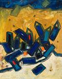 Untitled (Blue and Yellow Landscape) - Lancelot  Ribeiro - Spring Online Auction