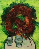 Maite  Delteil-The Garnet Bouquet with Vases of Earthenware