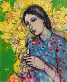 Maite  Delteil-Lady with Yellow Vase