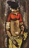 Untitled (Woman in Red and Yellow) - M  Sivanesan - Modern and Contemporary South Asian Art and Collectibles