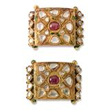 PAIR OF PERIOD DIAMOND `POLKI` AND RUBY BRACELET PLAQUES -    - Fine Jewels, Silver and Watches
