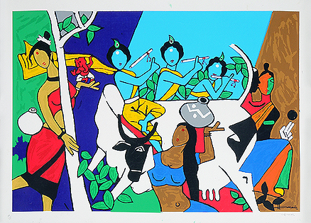 M F Husain - Ganesh with Sun @ Limited Editions Serigraphs